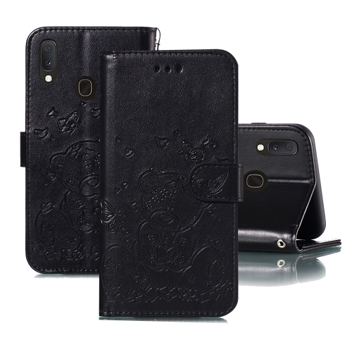 For Samsung Galaxy A40 Embossed Butterfly Love Bear Pattern PU + TPU Horizontal Flip Leather Case with Holder & Card Slots & Wallet & Photo Frame(Black)