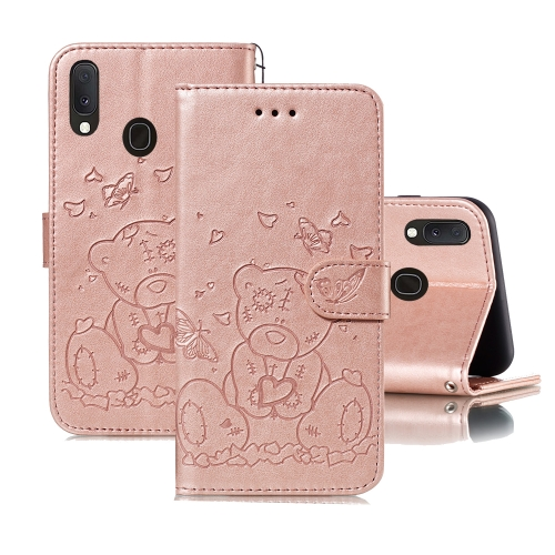 For Samsung Galaxy A40 Embossed Butterfly Love Bear Pattern PU + TPU Horizontal Flip Leather Case with Holder & Card Slots & Wallet & Photo Frame(Rose Gold)