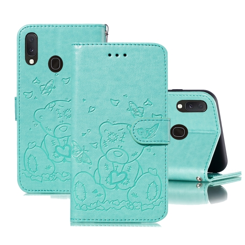 For Samsung Galaxy A40 Embossed Butterfly Love Bear Pattern PU + TPU Horizontal Flip Leather Case with Holder & Card Slots & Wallet & Photo Frame(Green)