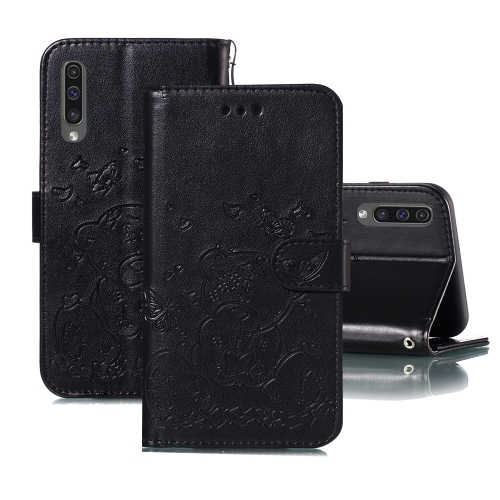 For Samsung Galaxy A50 Embossed Butterfly Love Bear Pattern PU + TPU Horizontal Flip Leather Case with Holder & Card Slots & Wallet & Photo Frame(Black)