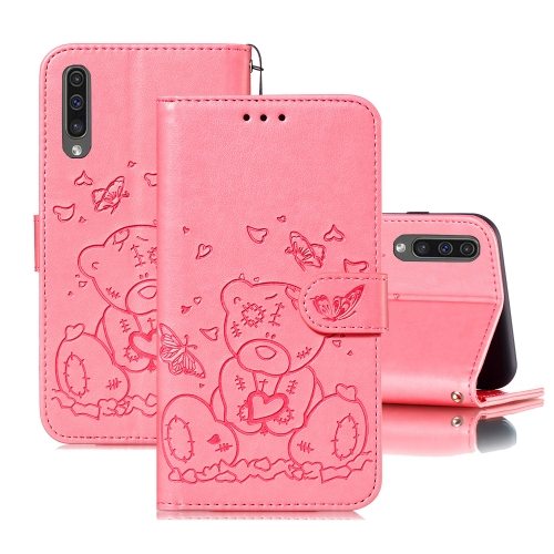 For Samsung Galaxy A50 Embossed Butterfly Love Bear Pattern PU + TPU Horizontal Flip Leather Case with Holder & Card Slots & Wallet & Photo Frame(Pink)