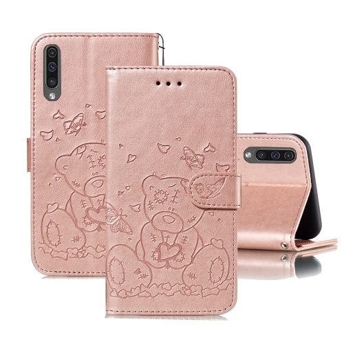 For Samsung Galaxy A50 Embossed Butterfly Love Bear Pattern PU + TPU Horizontal Flip Leather Case with Holder & Card Slots & Wallet & Photo Frame(Rose Gold)