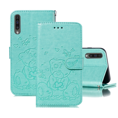 For Samsung Galaxy A50 Embossed Butterfly Love Bear Pattern PU + TPU Horizontal Flip Leather Case with Holder & Card Slots & Wallet & Photo Frame(Green)