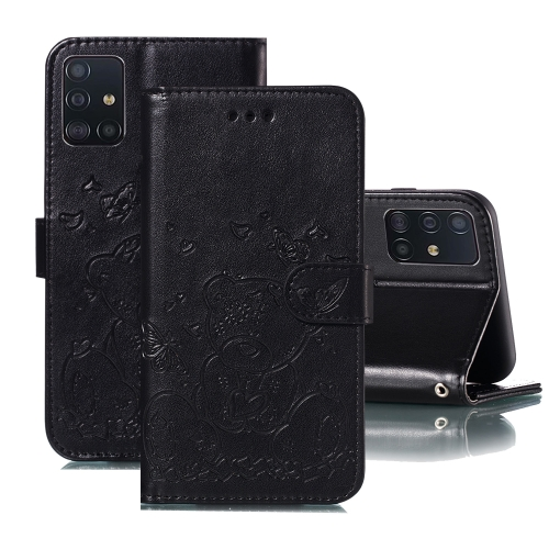 For Samsung Galaxy A71 Embossed Butterfly Love Bear Pattern PU + TPU Horizontal Flip Leather Case with Holder & Card Slots & Wallet & Photo Frame(Black)