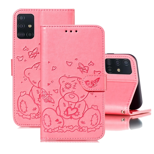 For Samsung Galaxy A71 Embossed Butterfly Love Bear Pattern PU + TPU Horizontal Flip Leather Case with Holder & Card Slots & Wallet & Photo Frame(Pink)