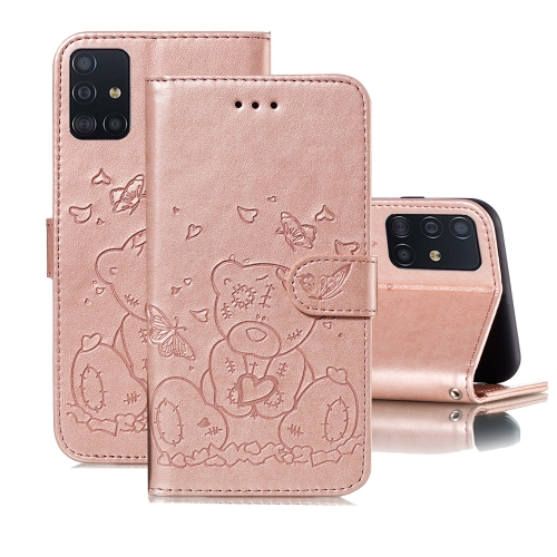For Samsung Galaxy A71 Embossed Butterfly Love Bear Pattern PU + TPU Horizontal Flip Leather Case with Holder & Card Slots & Wallet & Photo Frame(Rose Gold)