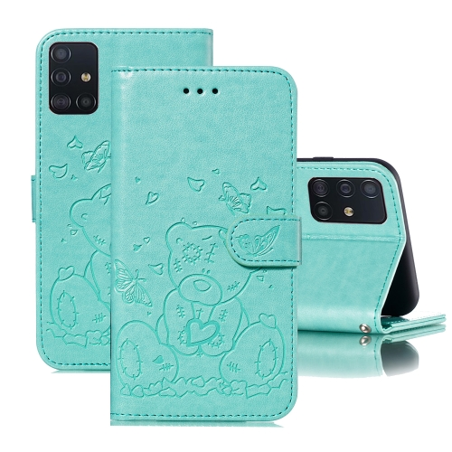 For Samsung Galaxy A71 Embossed Butterfly Love Bear Pattern PU + TPU Horizontal Flip Leather Case with Holder & Card Slots & Wallet & Photo Frame(Green)