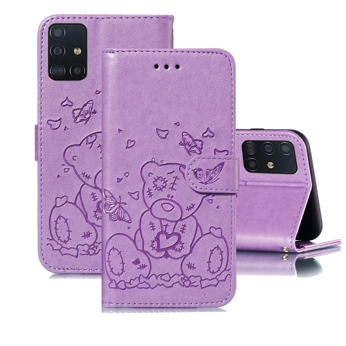 For Samsung Galaxy A71 Embossed Butterfly Love Bear Pattern PU + TPU Horizontal Flip Leather Case with Holder & Card Slots & Wallet & Photo Frame(Purple)