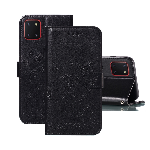For Samsung Galaxy A81 / Note 10 Lite Embossed Butterfly Love Bear Pattern PU + TPU Horizontal Flip Leather Case with Holder & Card Slots & Wallet & Photo Frame(Black)