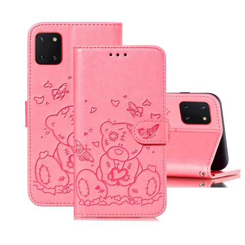 For Samsung Galaxy A81 / Note 10 Lite Embossed Butterfly Love Bear Pattern PU + TPU Horizontal Flip Leather Case with Holder & Card Slots & Wallet & Photo Frame(Pink)