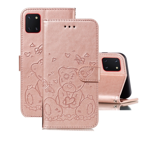 For Samsung Galaxy A81 / Note 10 Lite Embossed Butterfly Love Bear Pattern PU + TPU Horizontal Flip Leather Case with Holder & Card Slots & Wallet & Photo Frame(Rose Gold)