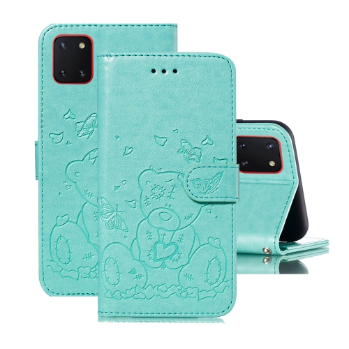 For Samsung Galaxy A81 / Note 10 Lite Embossed Butterfly Love Bear Pattern PU + TPU Horizontal Flip Leather Case with Holder & Card Slots & Wallet & Photo Frame(Green)