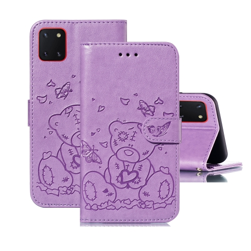 For Samsung Galaxy A81 / Note 10 Lite Embossed Butterfly Love Bear Pattern PU + TPU Horizontal Flip Leather Case with Holder & Card Slots & Wallet & Photo Frame(Purple)