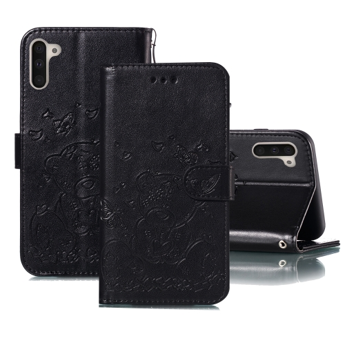 For Samsung Galaxy Note 10 Embossed Butterfly Love Bear Pattern PU + TPU Horizontal Flip Leather Case with Holder & Card Slots & Wallet & Photo Frame(Black)