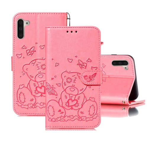For Samsung Galaxy Note 10 Embossed Butterfly Love Bear Pattern PU + TPU Horizontal Flip Leather Case with Holder & Card Slots & Wallet & Photo Frame(Pink)