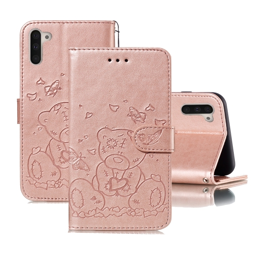 For Samsung Galaxy Note 10 Embossed Butterfly Love Bear Pattern PU + TPU Horizontal Flip Leather Case with Holder & Card Slots & Wallet & Photo Frame(Rose Gold)