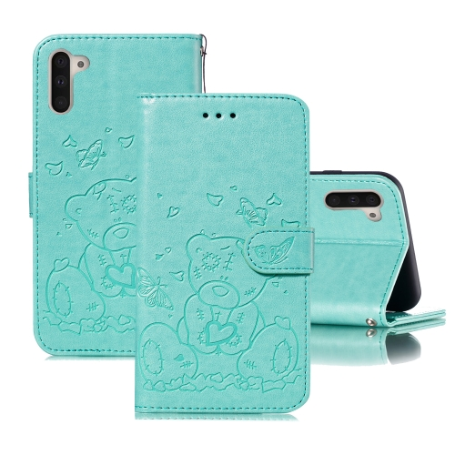 For Samsung Galaxy Note 10 Embossed Butterfly Love Bear Pattern PU + TPU Horizontal Flip Leather Case with Holder & Card Slots & Wallet & Photo Frame(Green)