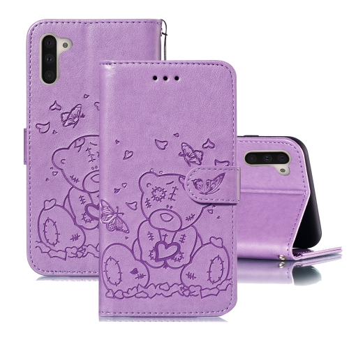 For Samsung Galaxy Note 10 Embossed Butterfly Love Bear Pattern PU + TPU Horizontal Flip Leather Case with Holder & Card Slots & Wallet & Photo Frame(Purple)