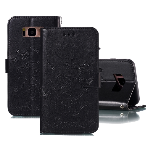For Samsung Galaxy S8 Embossed Butterfly Love Bear Pattern PU + TPU Horizontal Flip Leather Case with Holder & Card Slots & Wallet & Photo Frame(Black)