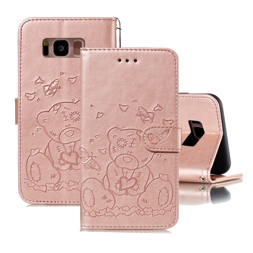 For Samsung Galaxy S8 Embossed Butterfly Love Bear Pattern PU + TPU Horizontal Flip Leather Case with Holder & Card Slots & Wallet & Photo Frame(Rose Gold)
