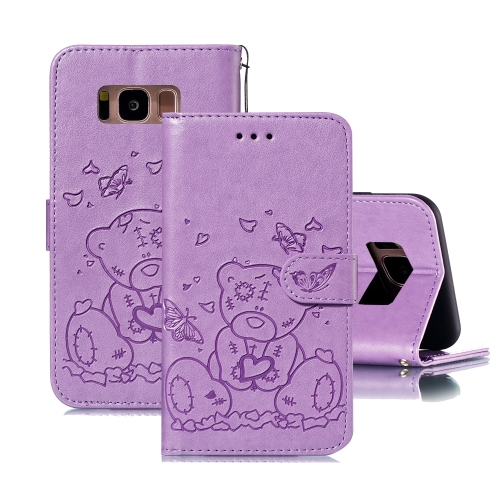 For Samsung Galaxy S8 Embossed Butterfly Love Bear Pattern PU + TPU Horizontal Flip Leather Case with Holder & Card Slots & Wallet & Photo Frame(Purple)