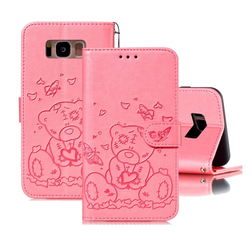 For Samsung Galaxy S8+ Embossed Butterfly Love Bear Pattern PU + TPU Horizontal Flip Leather Case with Holder & Card Slots & Wallet & Photo Frame(Pink)