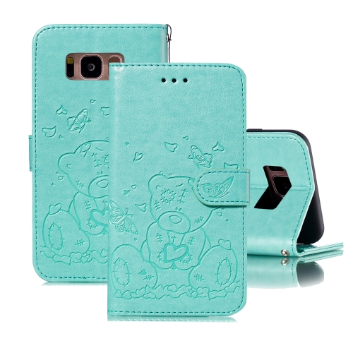 For Samsung Galaxy S8+ Embossed Butterfly Love Bear Pattern PU + TPU Horizontal Flip Leather Case with Holder & Card Slots & Wallet & Photo Frame(Green)