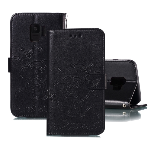 For Samsung Galaxy S9 Embossed Butterfly Love Bear Pattern PU + TPU Horizontal Flip Leather Case with Holder & Card Slots & Wallet & Photo Frame(Black)