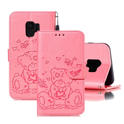 For Samsung Galaxy S9 Embossed Butterfly Love Bear Pattern PU + TPU Horizontal Flip Leather Case with Holder & Card Slots & Wallet & Photo Frame(Pink)