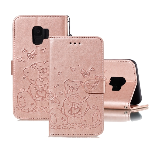 For Samsung Galaxy S9 Embossed Butterfly Love Bear Pattern PU + TPU Horizontal Flip Leather Case with Holder & Card Slots & Wallet & Photo Frame(Rose Gold)
