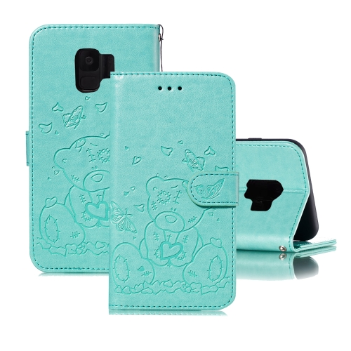 For Samsung Galaxy S9 Embossed Butterfly Love Bear Pattern PU + TPU Horizontal Flip Leather Case with Holder & Card Slots & Wallet & Photo Frame(Green)