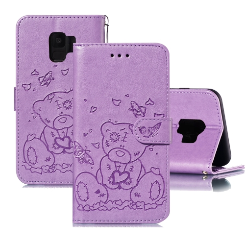 For Samsung Galaxy S9 Embossed Butterfly Love Bear Pattern PU + TPU Horizontal Flip Leather Case with Holder & Card Slots & Wallet & Photo Frame(Purple)