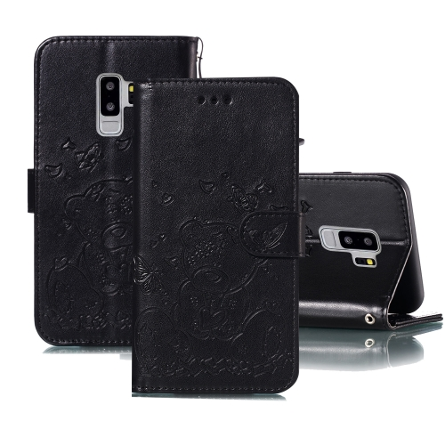 For Samsung Galaxy S9+ Embossed Butterfly Love Bear Pattern PU + TPU Horizontal Flip Leather Case with Holder & Card Slots & Wallet & Photo Frame(Black)