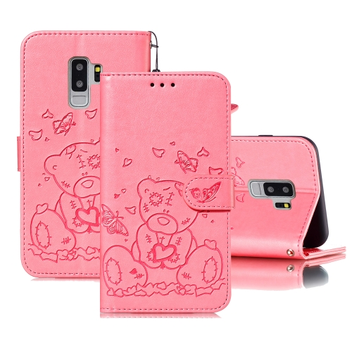 For Samsung Galaxy S9+ Embossed Butterfly Love Bear Pattern PU + TPU Horizontal Flip Leather Case with Holder & Card Slots & Wallet & Photo Frame(Pink)