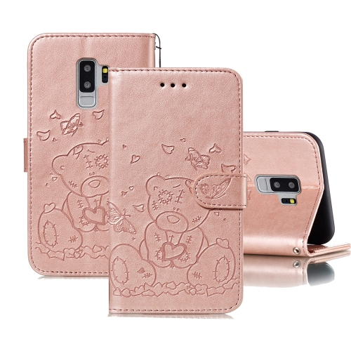 For Samsung Galaxy S9+ Embossed Butterfly Love Bear Pattern PU + TPU Horizontal Flip Leather Case with Holder & Card Slots & Wallet & Photo Frame(Rose Gold)