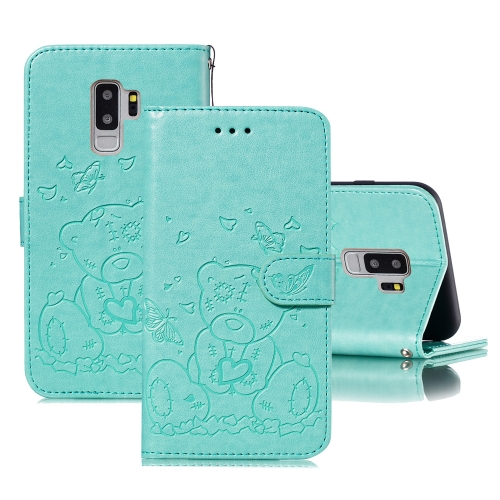 For Samsung Galaxy S9+ Embossed Butterfly Love Bear Pattern PU + TPU Horizontal Flip Leather Case with Holder & Card Slots & Wallet & Photo Frame(Green)