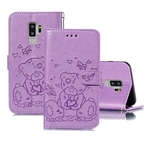For Samsung Galaxy S9+ Embossed Butterfly Love Bear Pattern PU + TPU Horizontal Flip Leather Case with Holder & Card Slots & Wallet & Photo Frame(Purple)