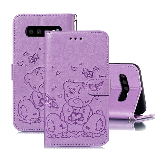 For Samsung Galaxy S10 Embossed Butterfly Love Bear Pattern PU + TPU Horizontal Flip Leather Case with Holder & Card Slots & Wallet & Photo Frame(Purple)