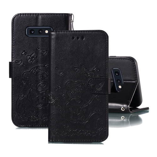 For Samsung Galaxy S10e Embossed Butterfly Love Bear Pattern PU + TPU Horizontal Flip Leather Case with Holder & Card Slots & Wallet & Photo Frame(Black)