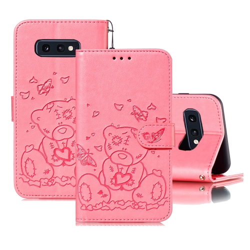 For Samsung Galaxy S10e Embossed Butterfly Love Bear Pattern PU + TPU Horizontal Flip Leather Case with Holder & Card Slots & Wallet & Photo Frame(Pink)