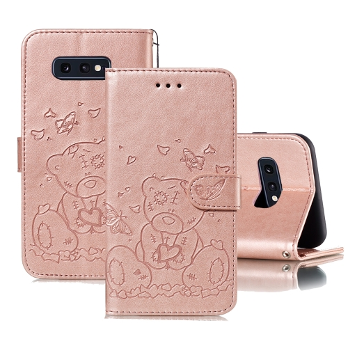 For Samsung Galaxy S10e Embossed Butterfly Love Bear Pattern PU + TPU Horizontal Flip Leather Case with Holder & Card Slots & Wallet & Photo Frame(Rose Gold)