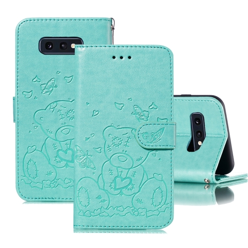 For Samsung Galaxy S10e Embossed Butterfly Love Bear Pattern PU + TPU Horizontal Flip Leather Case with Holder & Card Slots & Wallet & Photo Frame(Green)