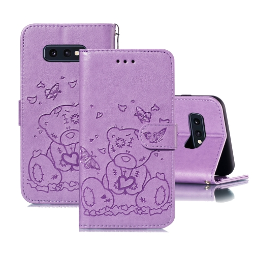 For Samsung Galaxy S10e Embossed Butterfly Love Bear Pattern PU + TPU Horizontal Flip Leather Case with Holder & Card Slots & Wallet & Photo Frame(Purple)