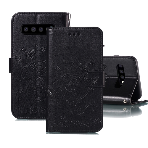 For Samsung Galaxy S10+ Embossed Butterfly Love Bear Pattern PU + TPU Horizontal Flip Leather Case with Holder & Card Slots & Wallet & Photo Frame(Black)