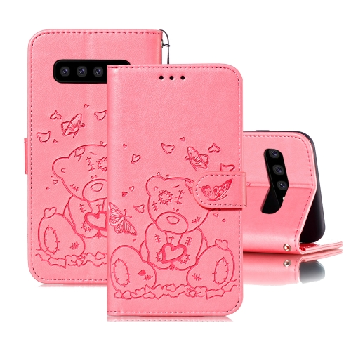 For Samsung Galaxy S10+ Embossed Butterfly Love Bear Pattern PU + TPU Horizontal Flip Leather Case with Holder & Card Slots & Wallet & Photo Frame(Pink)