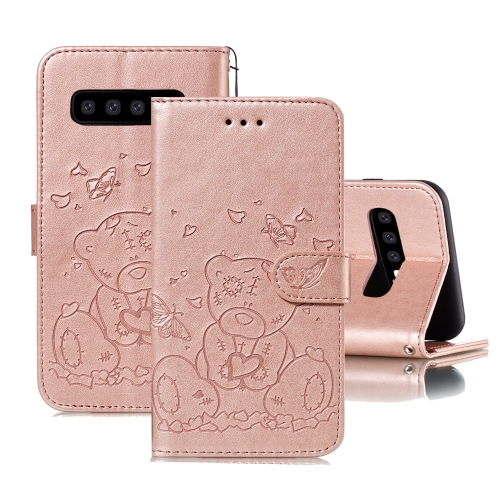 For Samsung Galaxy S10+ Embossed Butterfly Love Bear Pattern PU + TPU Horizontal Flip Leather Case with Holder & Card Slots & Wallet & Photo Frame(Rose Gold)