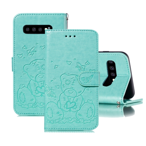 For Samsung Galaxy S10+ Embossed Butterfly Love Bear Pattern PU + TPU Horizontal Flip Leather Case with Holder & Card Slots & Wallet & Photo Frame(Green)