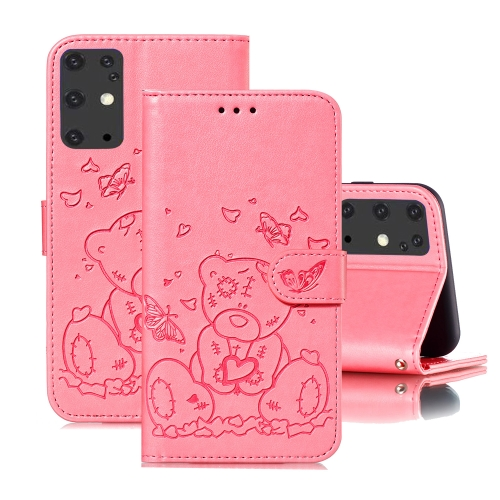 For Samsung Galaxy S20+ Embossed Butterfly Love Bear Pattern PU + TPU Horizontal Flip Leather Case with Holder & Card Slots & Wallet & Photo Frame(Pink)