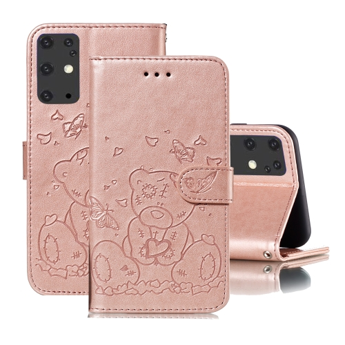 For Samsung Galaxy S20+ Embossed Butterfly Love Bear Pattern PU + TPU Horizontal Flip Leather Case with Holder & Card Slots & Wallet & Photo Frame(Rose Gold)