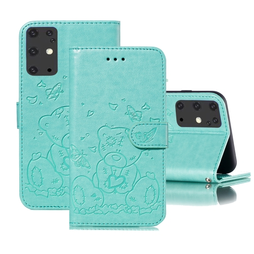 For Samsung Galaxy S20+ Embossed Butterfly Love Bear Pattern PU + TPU Horizontal Flip Leather Case with Holder & Card Slots & Wallet & Photo Frame(Green)